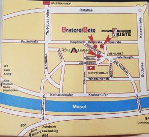 Altstadt-Karte Trier mit Standort Kiste